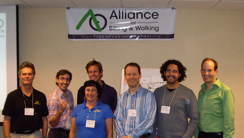 Texan attendees with training instructors, l-r: Robin Stallings, instructor and BikeTexas Executive Director; Ryan Hanson, BikeTexas staff; Brenda Chuleewah, BikeTexas staff; Ron Milam, instructor and Executive Director of the Los Angeles Bicycle Coalition; Jim Wilson, Benbrook City Council member and President of the Lockheed Martin cycling club; Antonio Madrid, BikeTexas staff; and Jeff Miller, instructor and President of the Alliance from Washington DC.