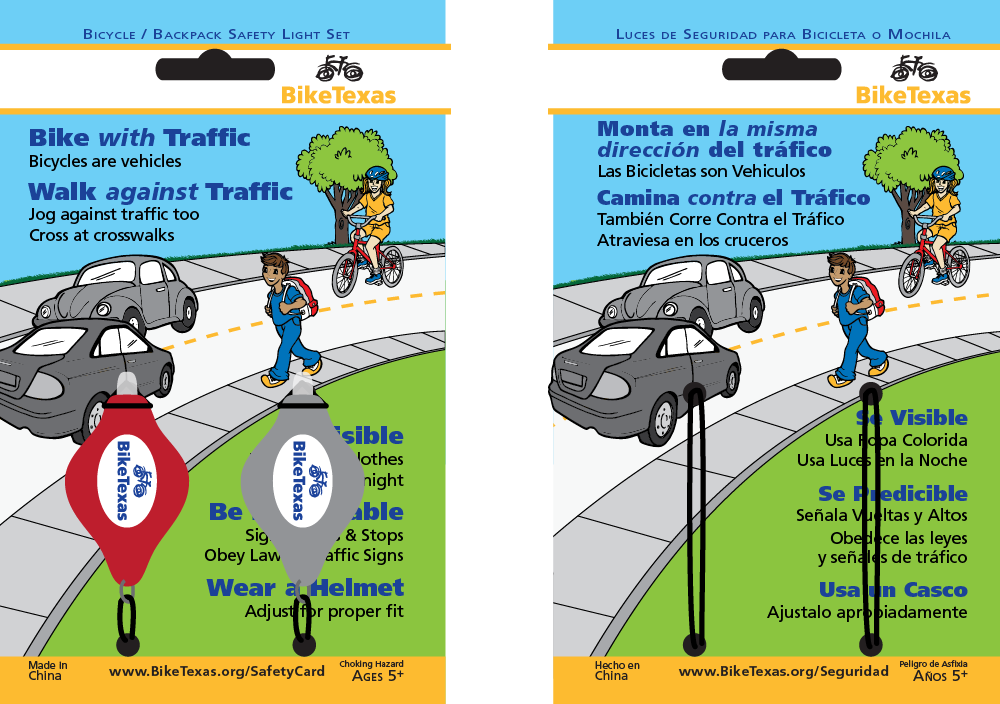 Lights will come attached to water-resistant card with safety tips for walking and biking