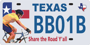 Share the Road Y'all license plate funds the BikeTexas Share the Road Motorist/Cyclist Education program