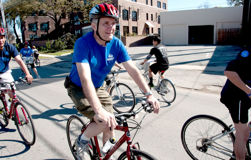 US Congressman Lloyd Doggett rides a BikeTexas Trek during the March 2012 ciclovia in San Antonio