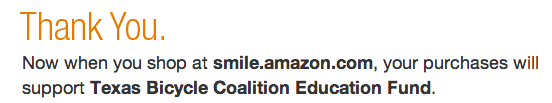 Support Bicycle Education in Texas with Amazon Smile!