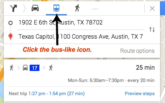 google maps using transit