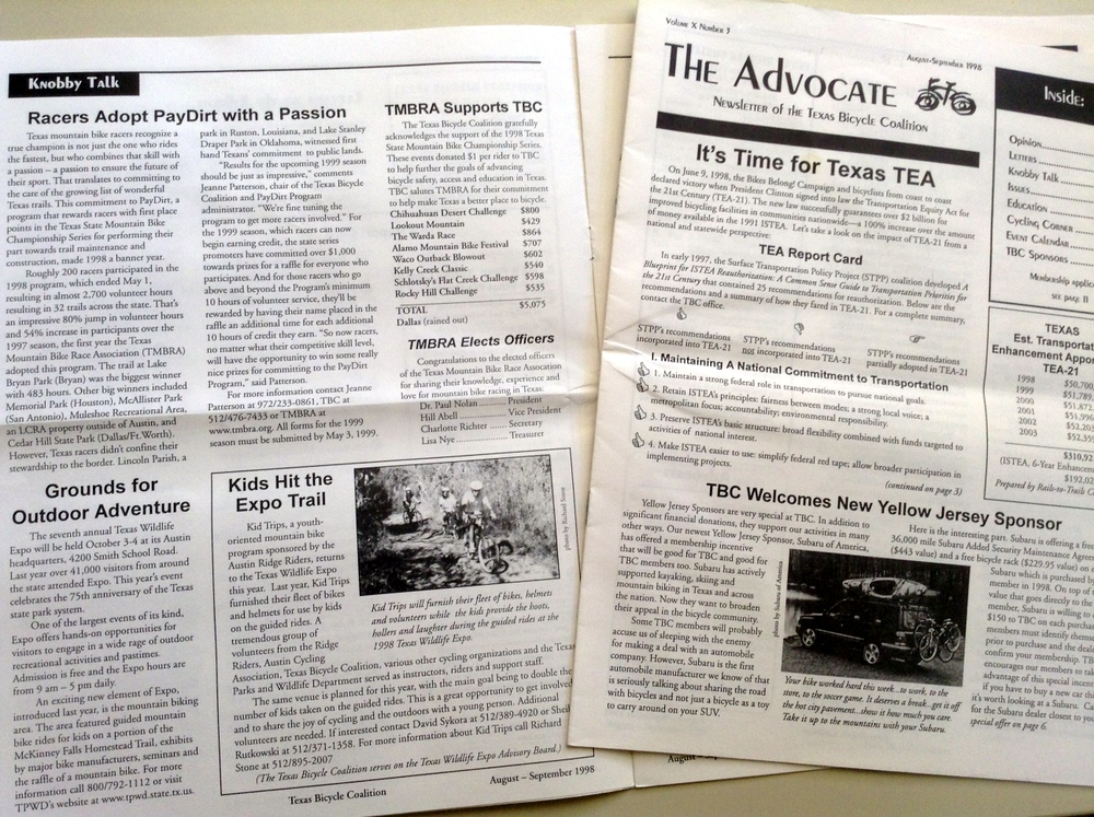 tbt sept newsletter 1998 biketexas