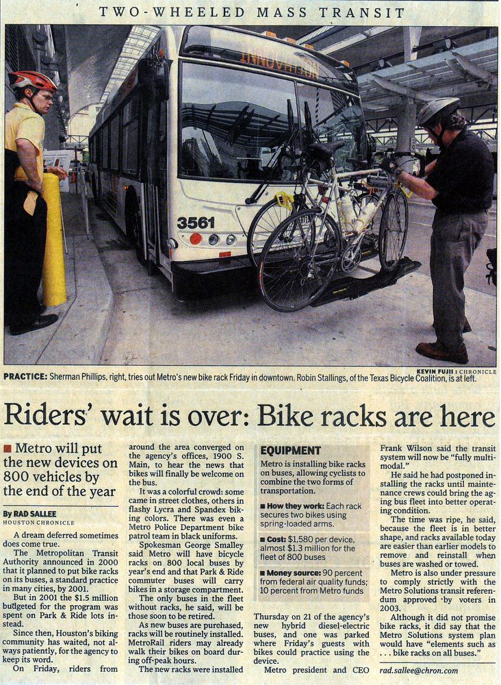 Houston Chronicle new bike racks april 21 2007