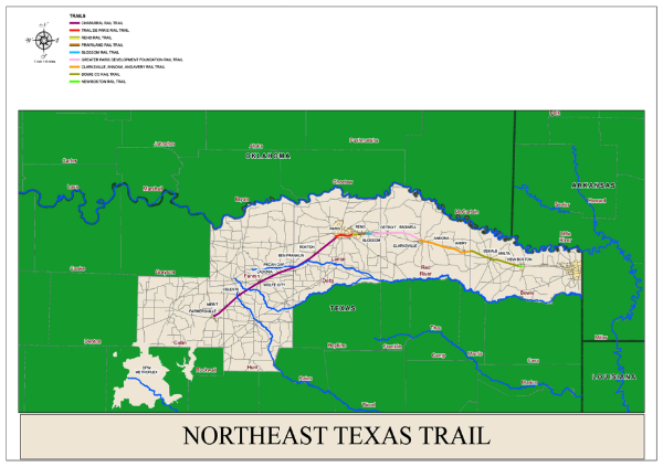 Map Of Texas State Parks.Northeast Texas Trail Explores Linear State Park Option Biketexas