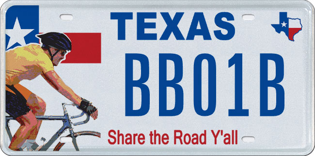 Share the Road Y'all Specialty License Plate
