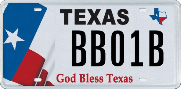 God Bless Texas Specialty License Plate