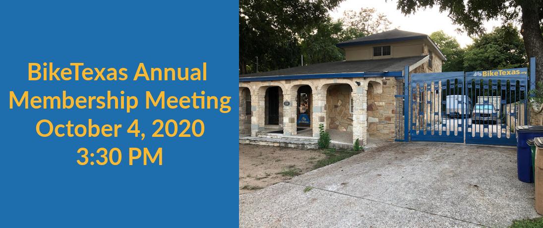 BikeTexas Annual Membership Meeting: Sunday, October 4, 2020