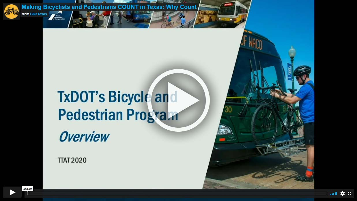 Video - Making Bicyclists and Pedestrians COUNT in Texas: Why Count