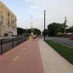 A two-way, separated bike path